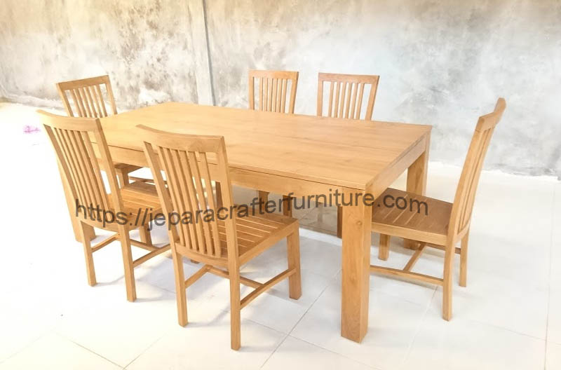 teak wood dining table 4 chairs jepara indonesia